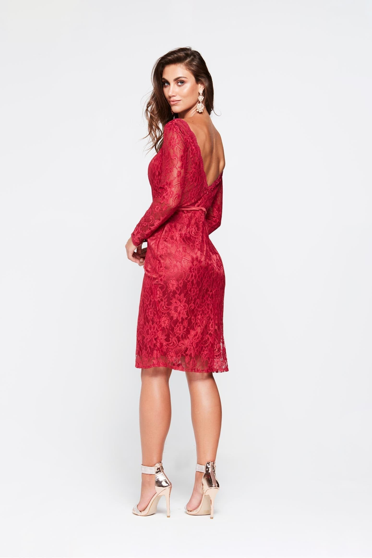 A&N Grace Mini Cocktail Dress - Deep Red Lace Long Sleeve A Line Dress