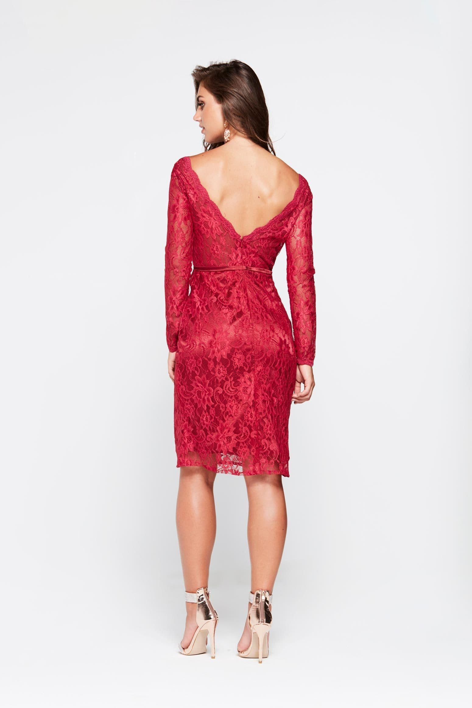 A&N Grace Mini Cocktail Dress - Deep Red Lace Long Sleeve A Line ...