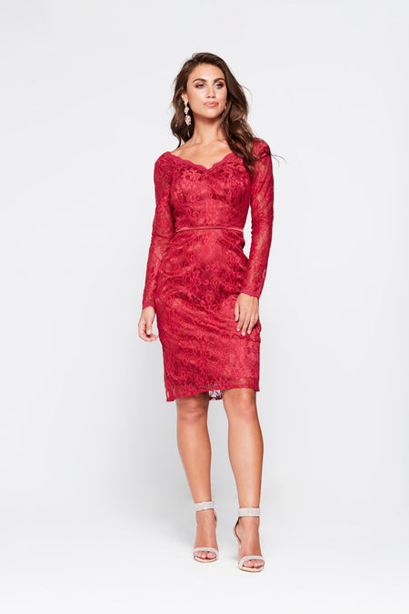 A&N Nyla Glitter Cocktail Dress - Burgundy