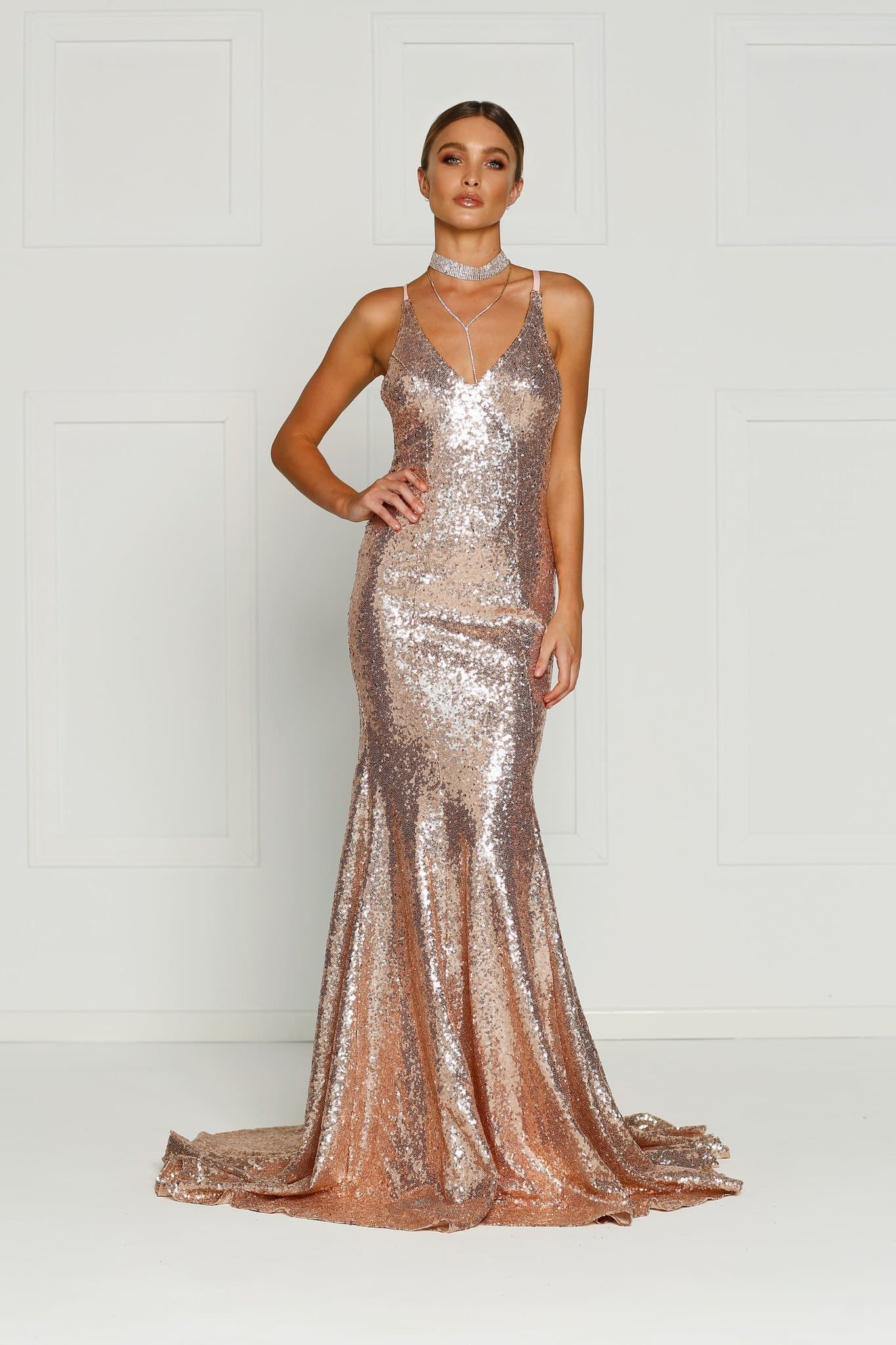 Gigi Formal Dress - Rose Gold Sequins V Neck Criss Cross Low Back Gown