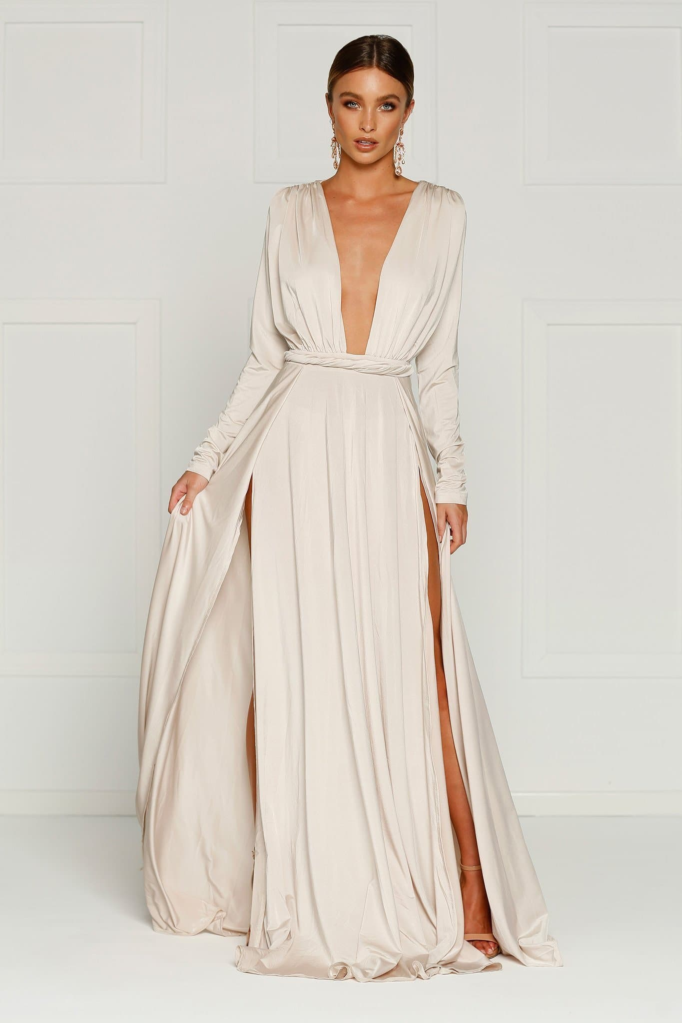 Sahara - Oyster Jersey Gown with Long Sleeves & Plunge Neckline