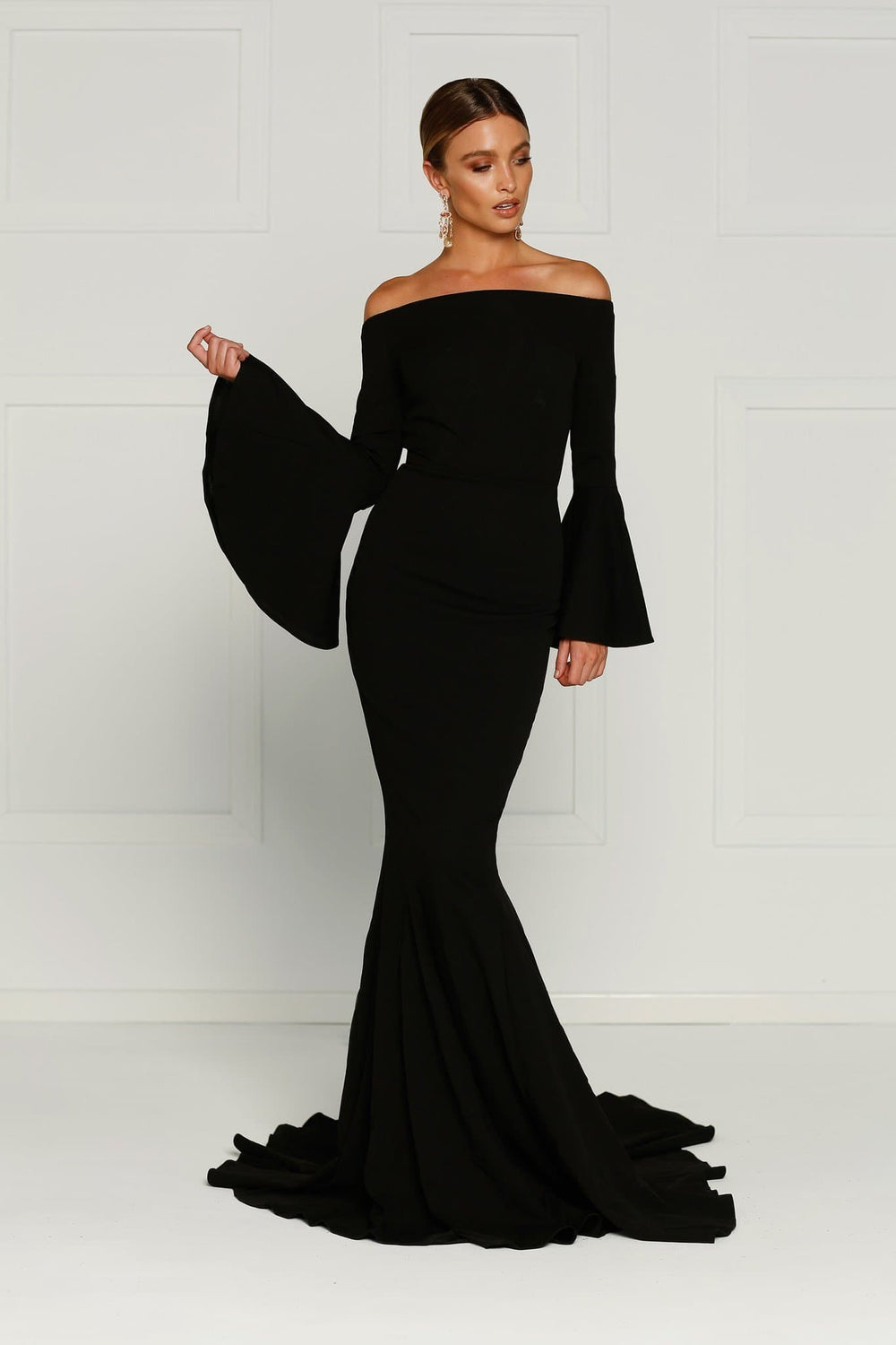 Amore - Black Off Shoulder Gown with Long Flare Sleeves – A N Luxe Label 2e833219f