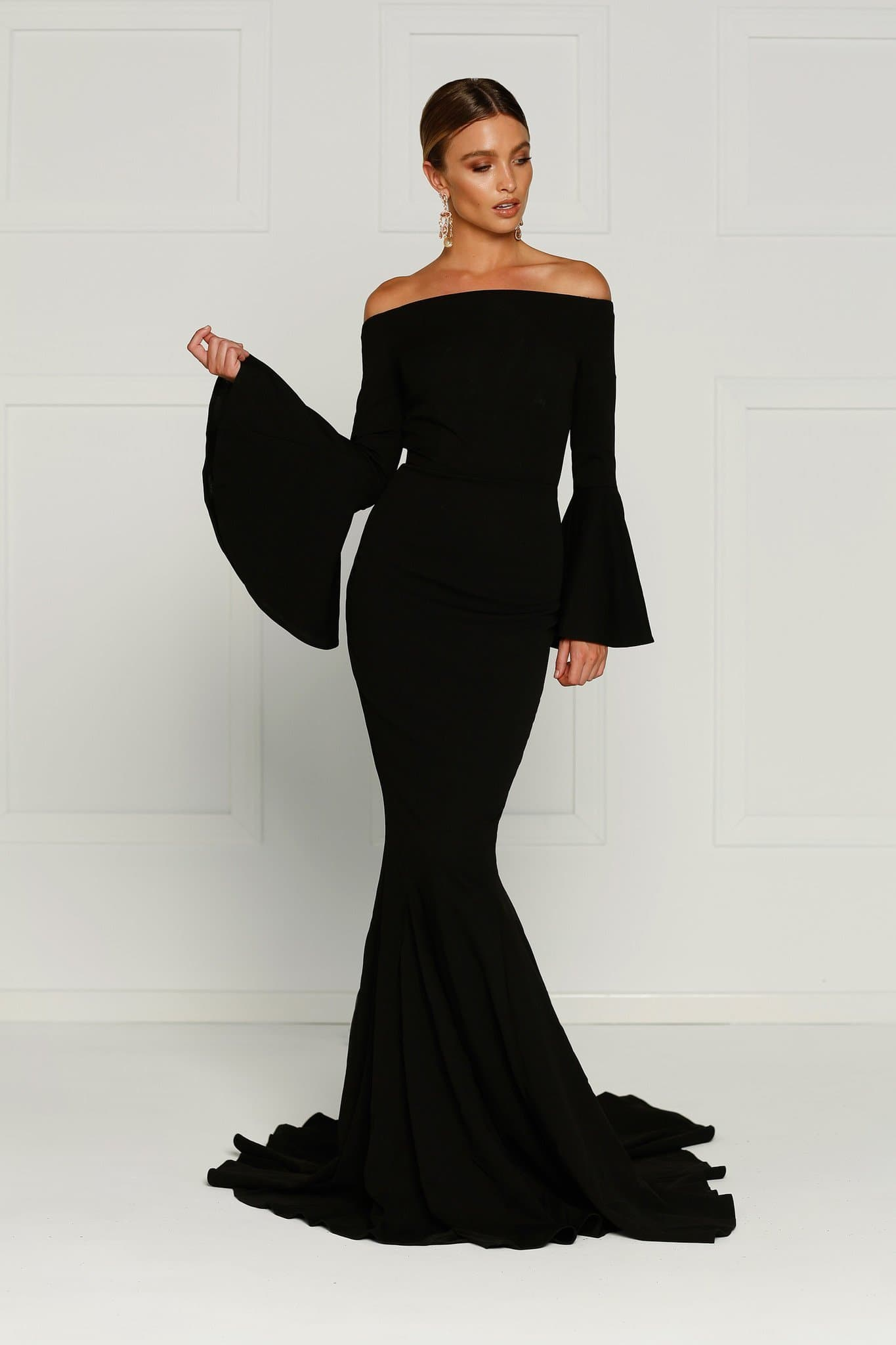1d0b4c05ff5f Amore - Black Off Shoulder Gown with Long Flare Sleeves – A N Luxe Label