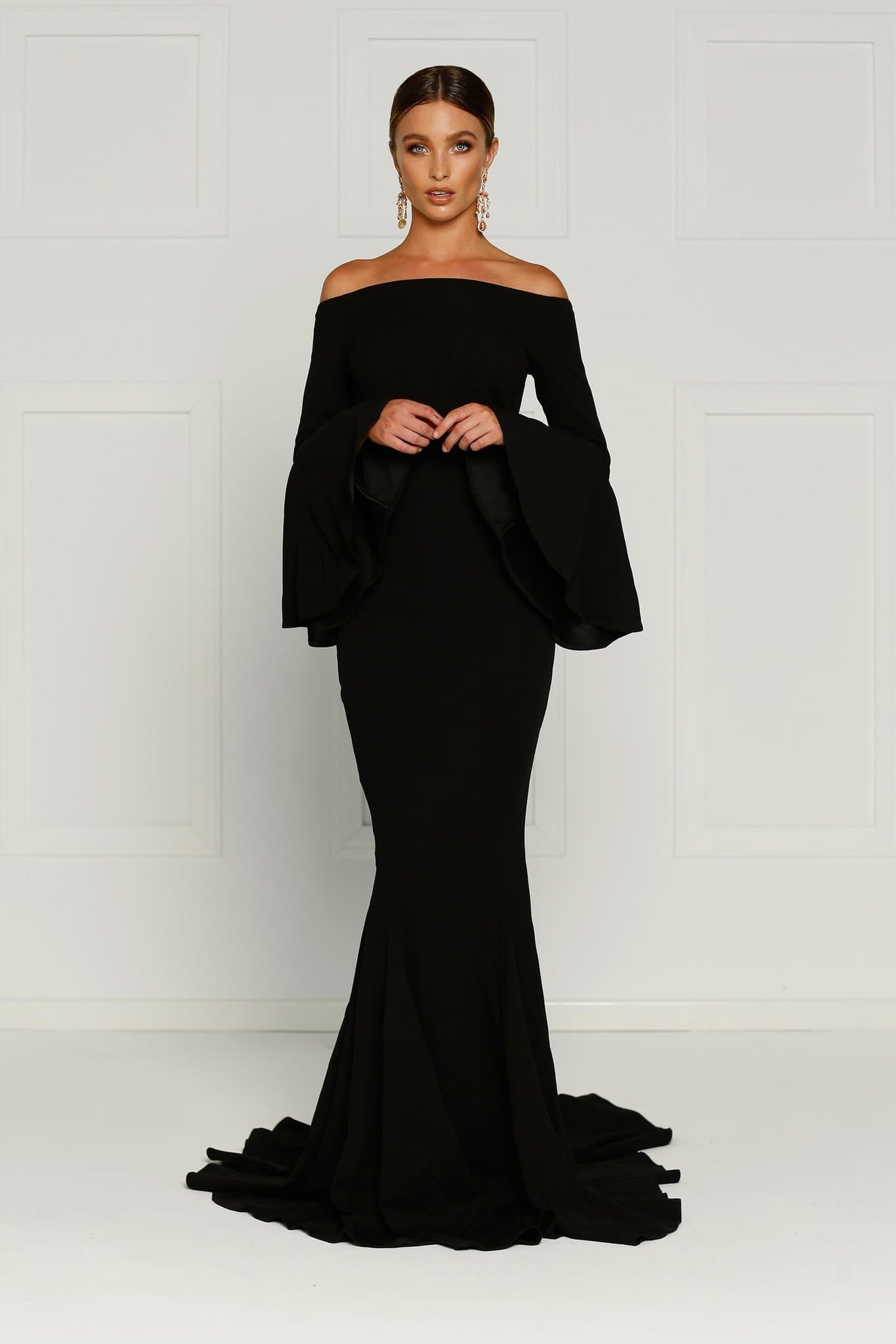 Amore - Black Off Shoulder Gown with Long Flare Sleeves