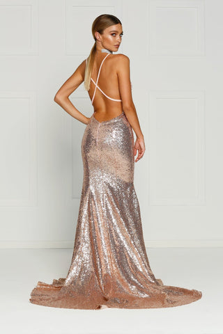 A&N Gigi- Rose Gold Sequin Dress with V Neck and Criss Cross Back