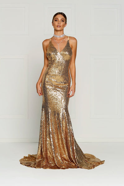 Gigi Formal Dress - Gold Sequins V Neck Criss Cross Low Back Gown