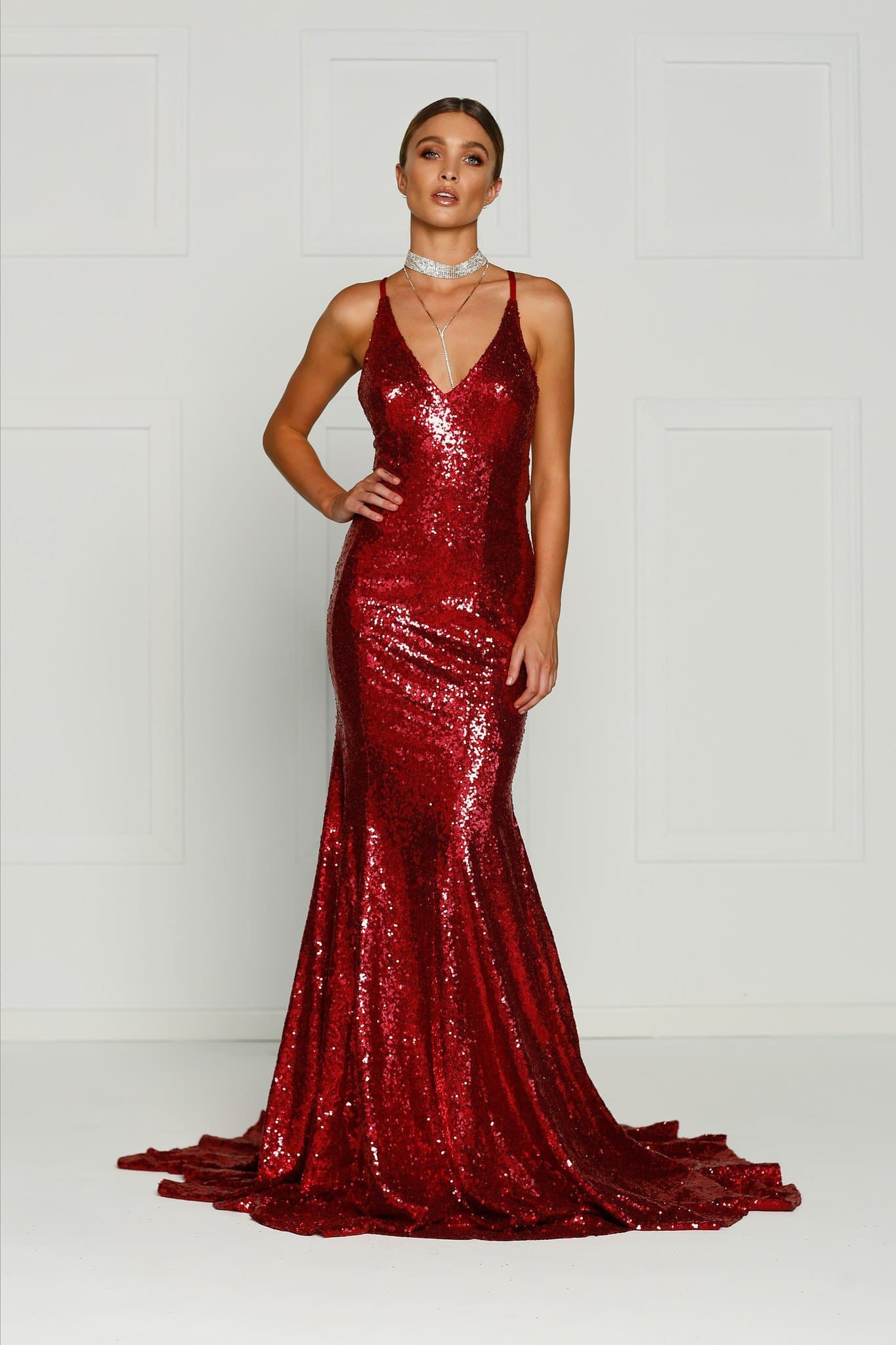 A&N Gigi- Deep Red Sequin Dress with V Neck and Criss Cross Back ...