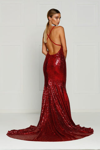 A&N Gigi- Deep Red Sequin Dress with V Neck and Criss Cross Back