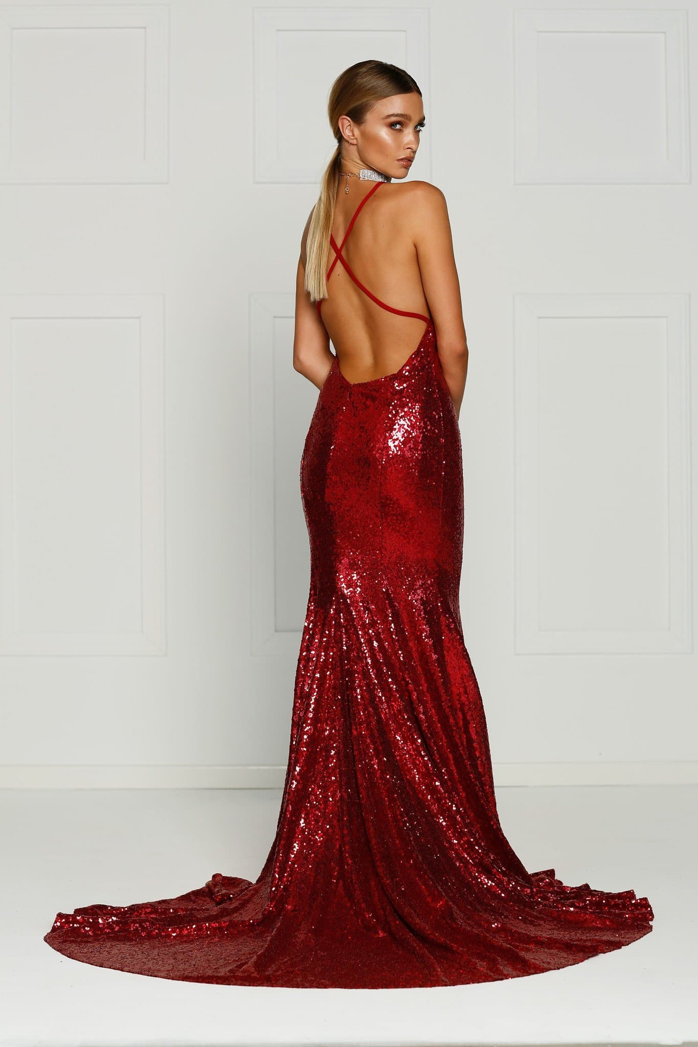 Gigi Formal Dress - Deep Red Sequins V Neck Criss Cross Low Back Gown