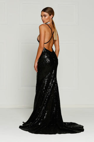A&N Gigi- Black Sequins Dress with V Neck and Criss Cross Low Back