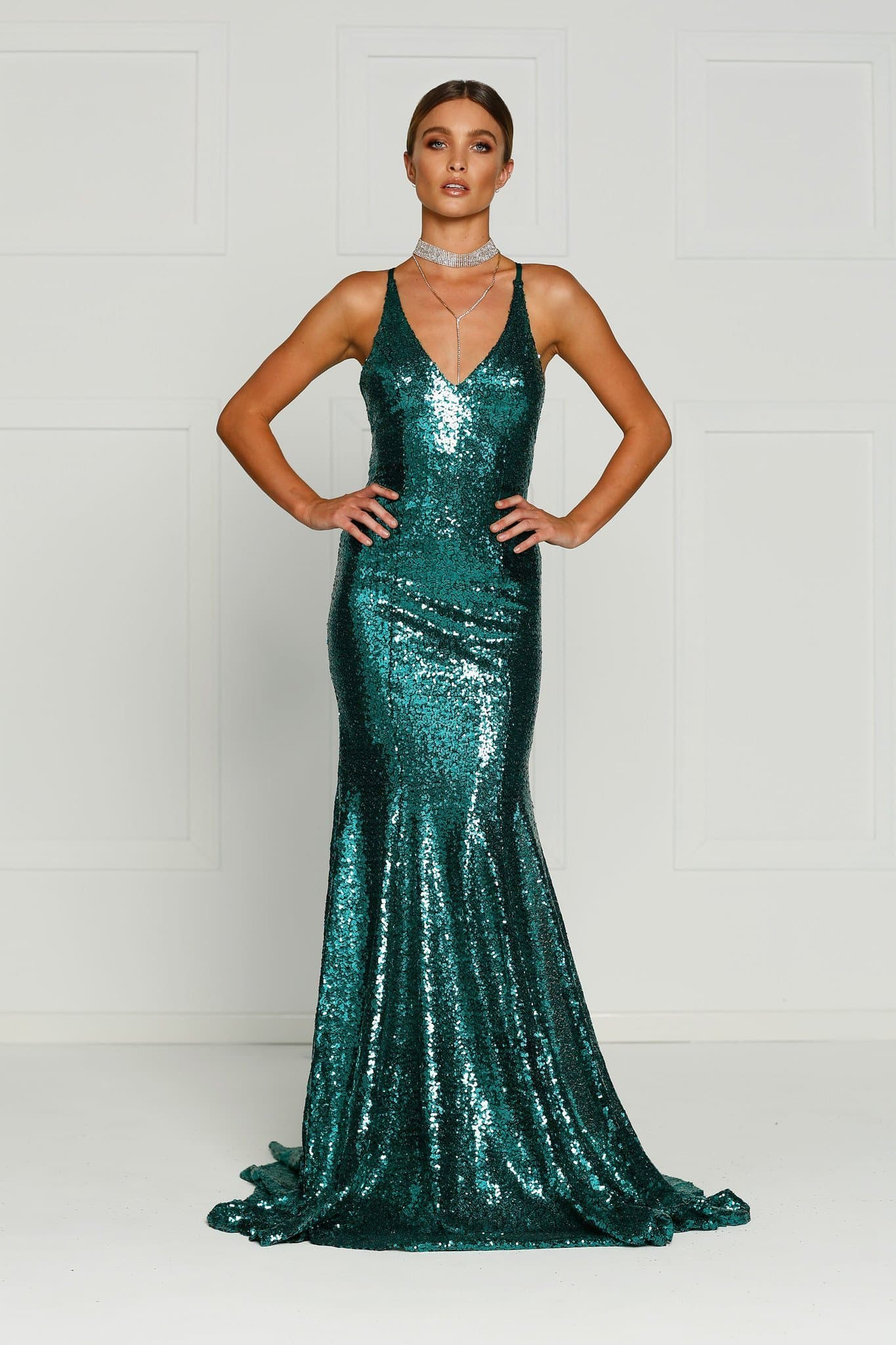 A&N Gigi- Emerald Sequin Dress with V Neck and Criss Cross Back