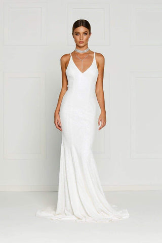 In stock - Gigi Sequin Gown - White