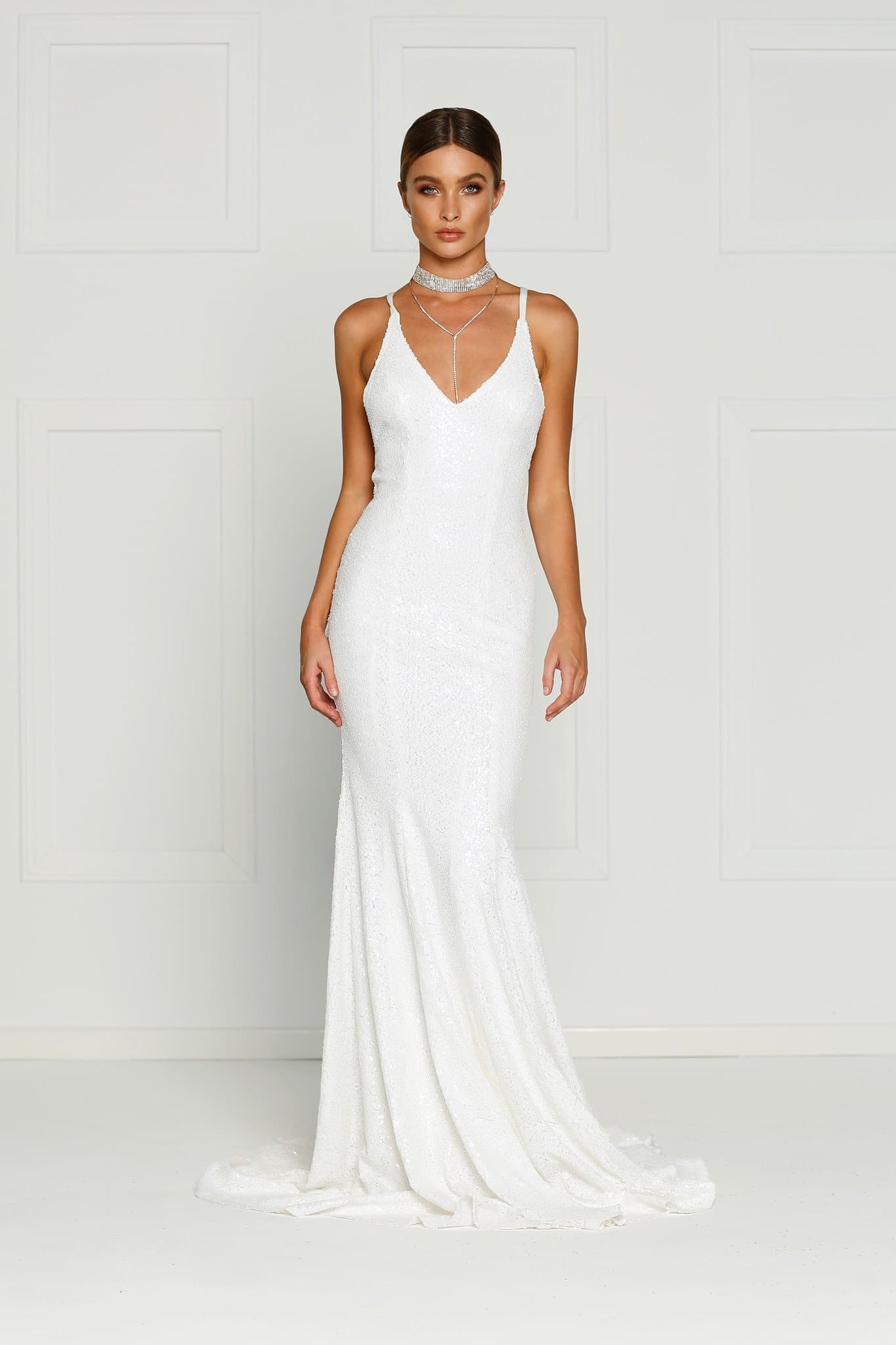 A&N Gigi- White Sequins Dress with V Neck and Criss Cross Back