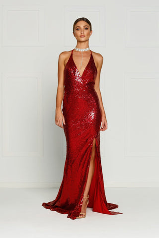 A&N Kylie- Deep Red Sequin Dress with Low Back and Side Slit