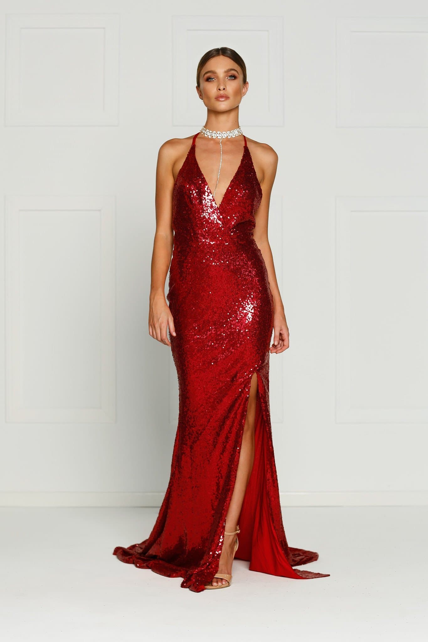 2d6c45644a2 A N Kylie- Deep Red Sequin Dress with Low Back and Side Slit – A N ...
