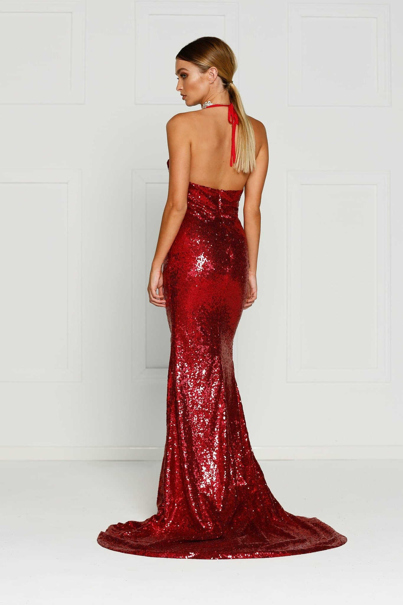Kylie Formal Dress - Deep Red Sequins Slit Mermaid Gown