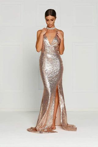In stock - Kylie Sequin Gown - Rose Gold
