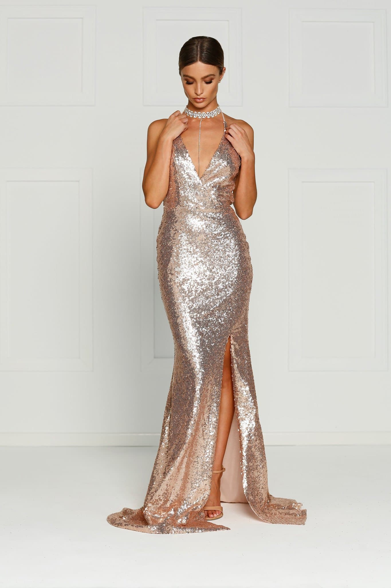 A&N Kylie- Rose Gold Sequin Dress with Low Back and Side Slit
