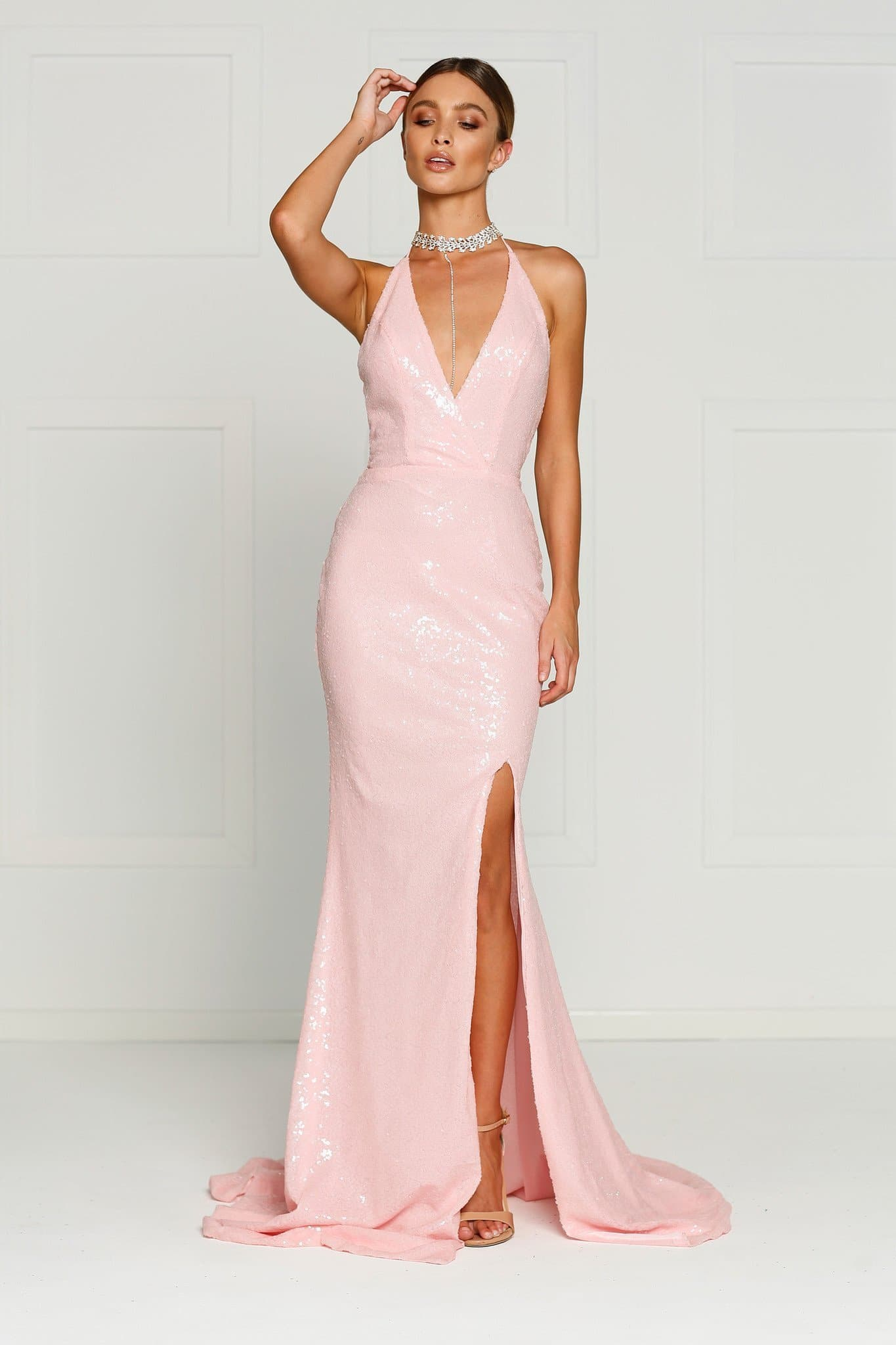 A&N Kylie- Pink Sequin Dress with Low Back and Side Slit – A&N Boutique