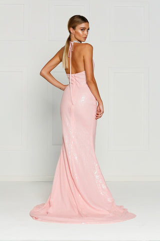 A&N Kylie- Pink Sequin Dress with Low Back and Side Slit