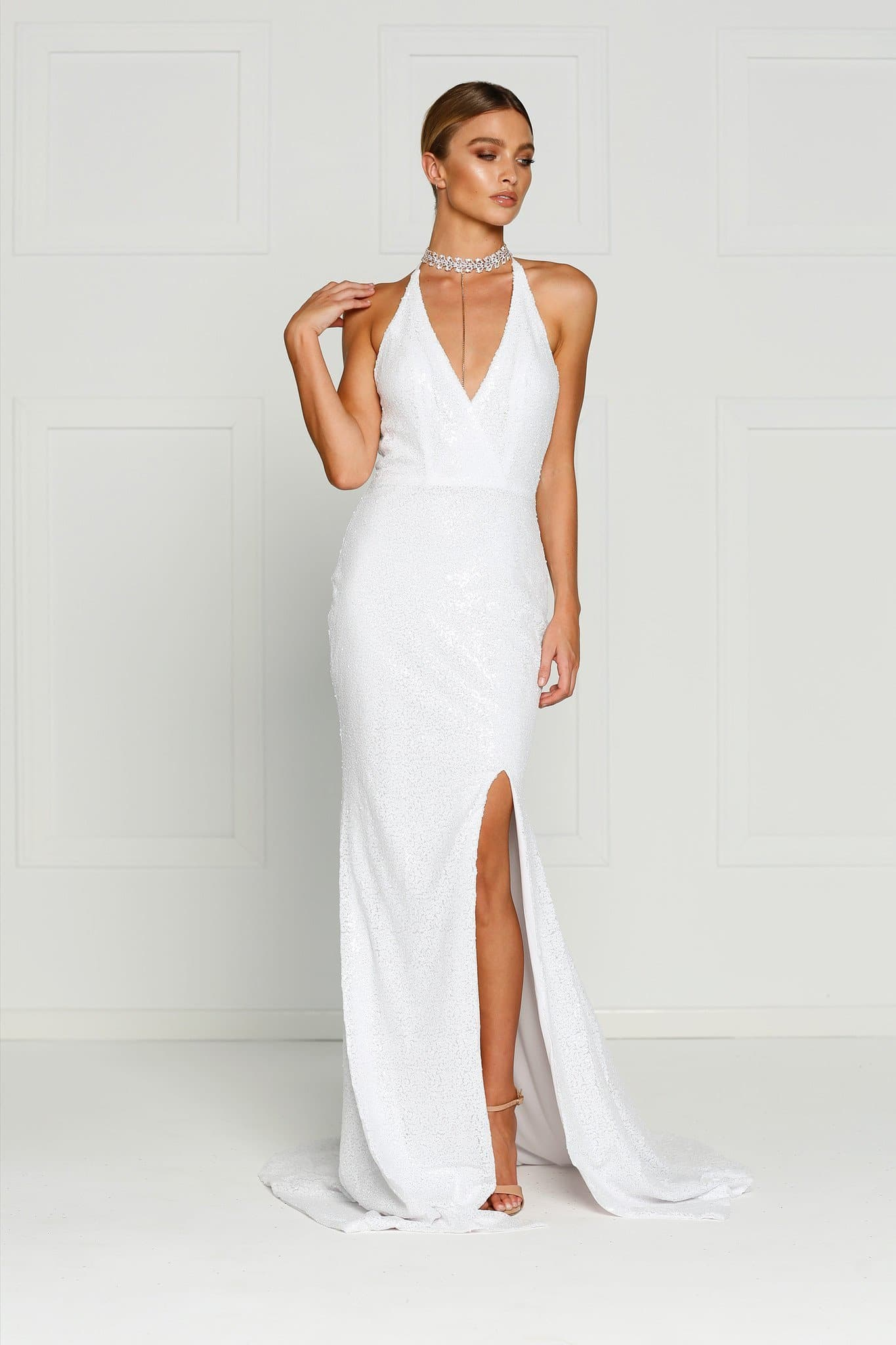 Kylie Formal Dress - White Sequins Slit Mermaid Gown Prom dress ...