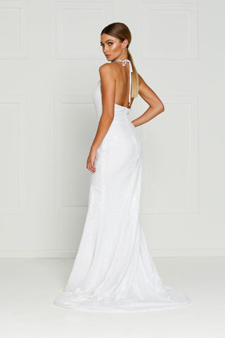 A&N Kylie- White Sequin Dress with Low Back and Side Slit