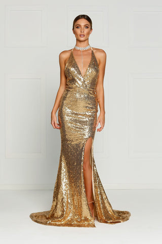 A&N Kylie- Liquid Gold Sequin Dress with Low Back and Side Slit