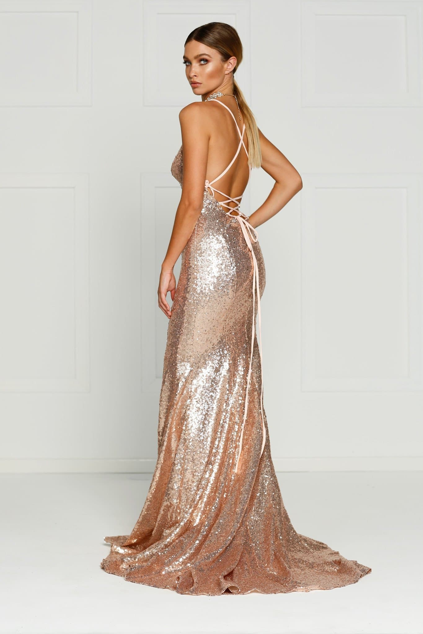 Rose Gold Sequins V Neck Full Length Gown - Kendall Formal Dress