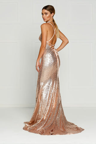 A&N Kendall - Rose Gold Sequin Dress with Criss Cross Back