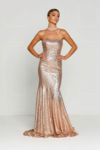 A&N Bella- Strapless Sequinned Dress in Rose Gold with Mermaid Tail