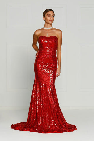 A&N Bella- Strapless Maxi Dress with Mermaid Train in Red