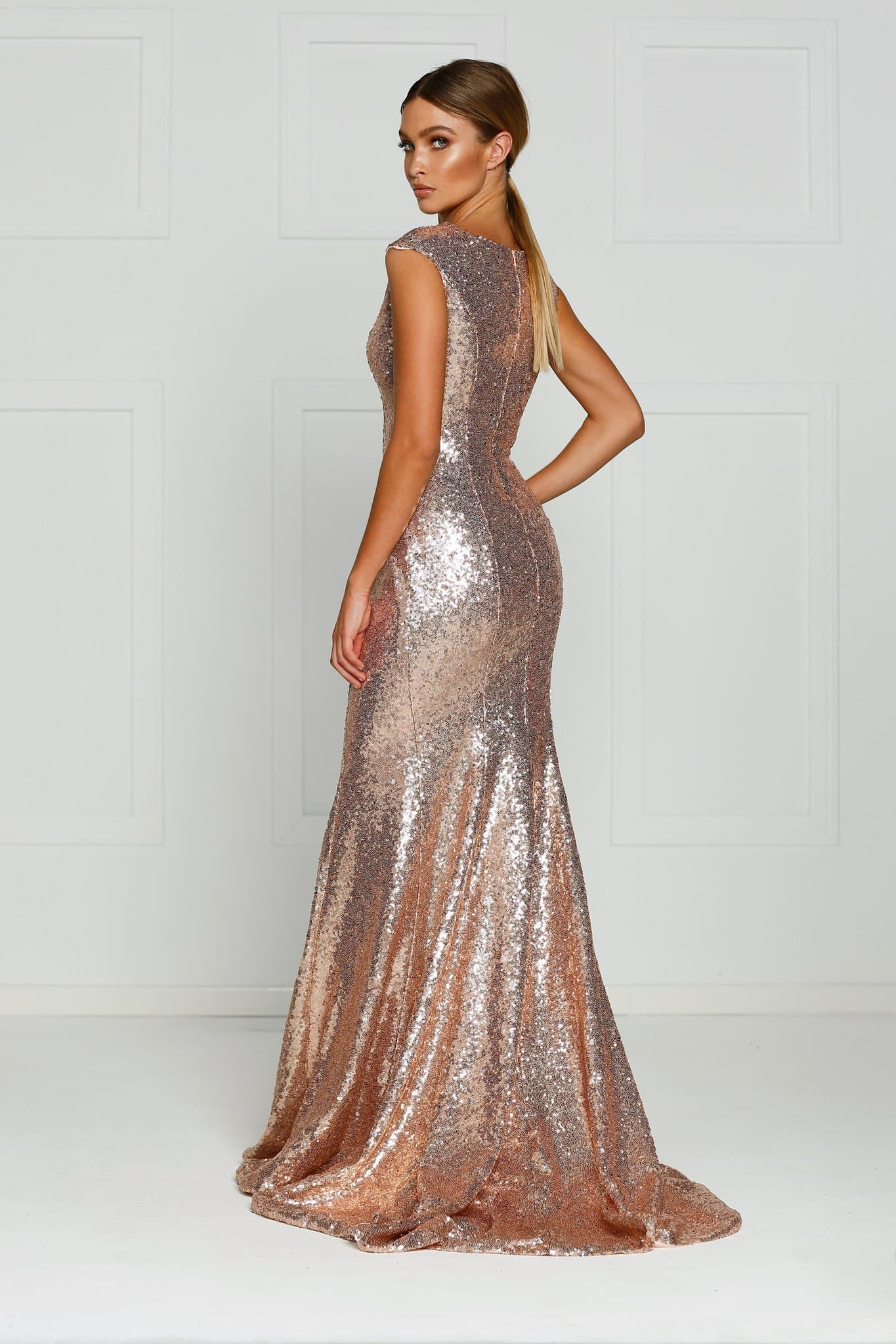 A&N Lila - Rose Gold Sequins Formal Dress with High Neck and Side Slit