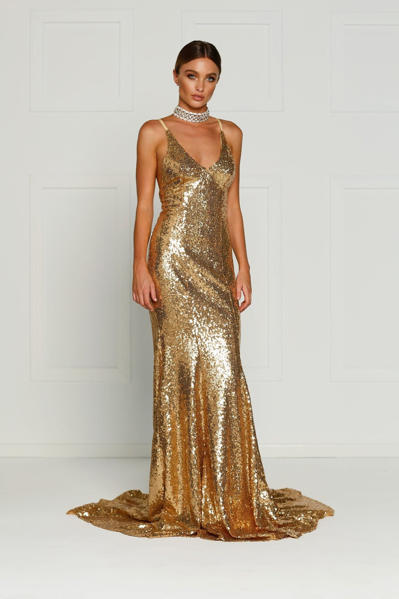Kendall Formal Dress - Liquid Gold Sequins V Neck Tie Back Full Length Gown