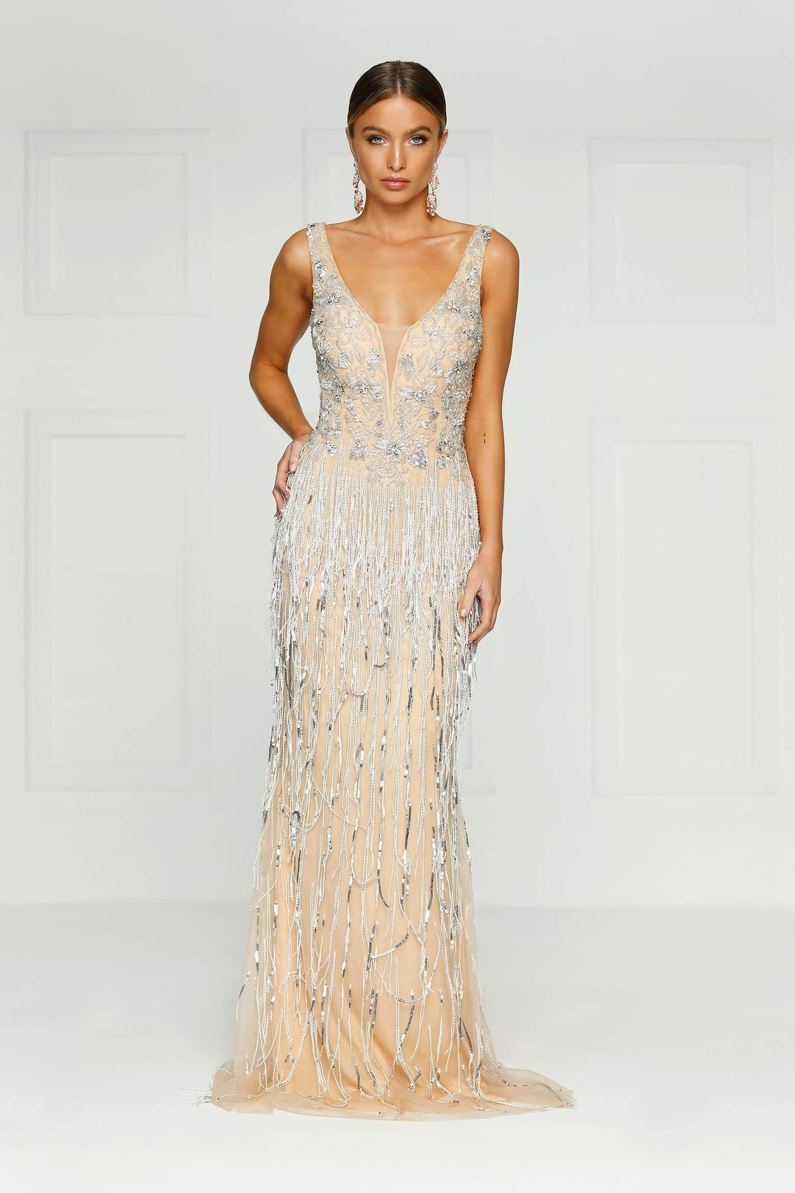 Queen Of Jewels - Sleeveless Couture Gown with V Neckline
