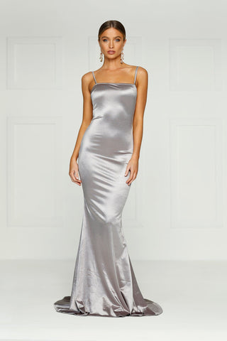 Lesiya - Silver Satin Gown with Mermaid Silhouette & Long Train