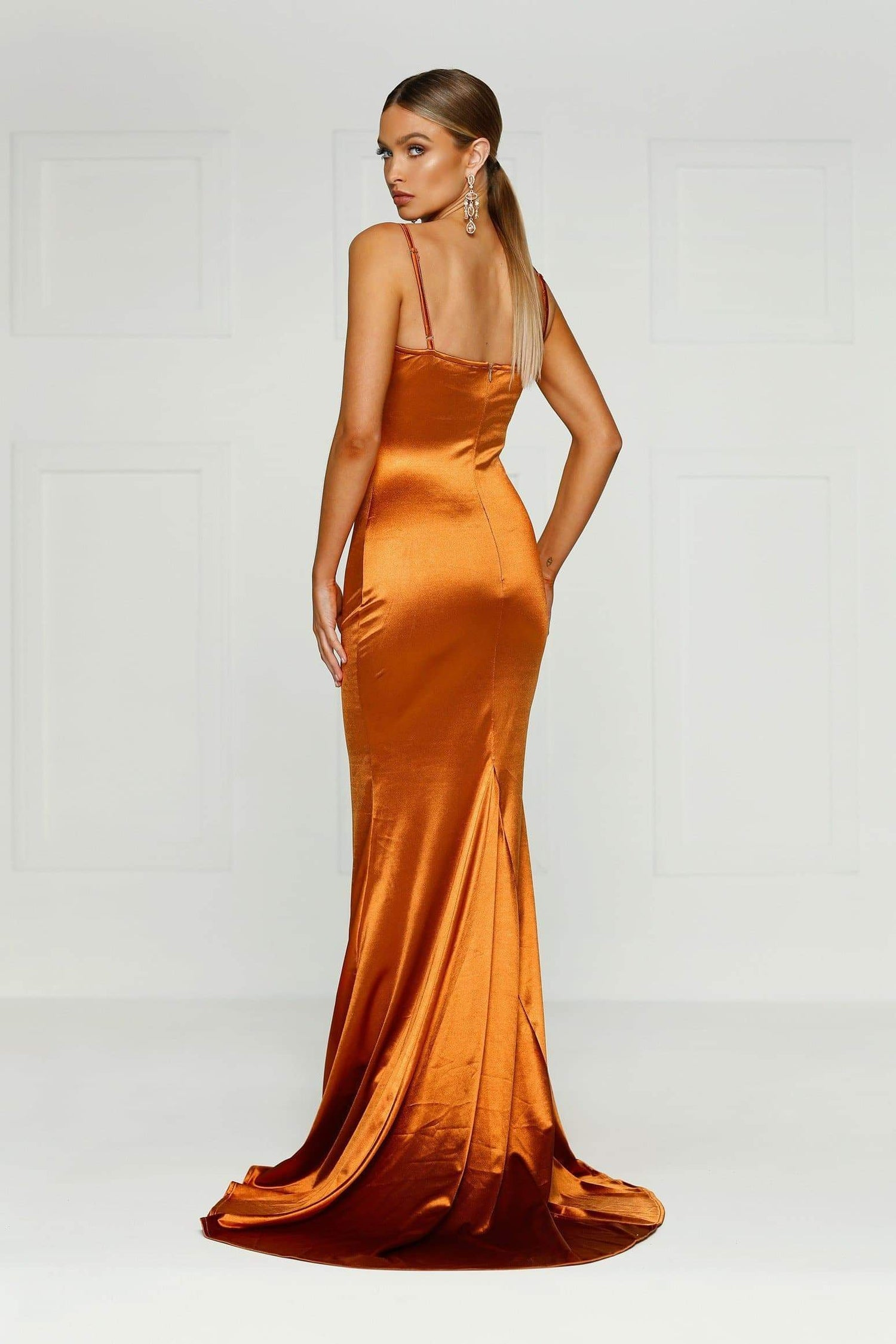 Lesiya - Golden Rust Satin Gown with Mermaid Silhouette & Long Train