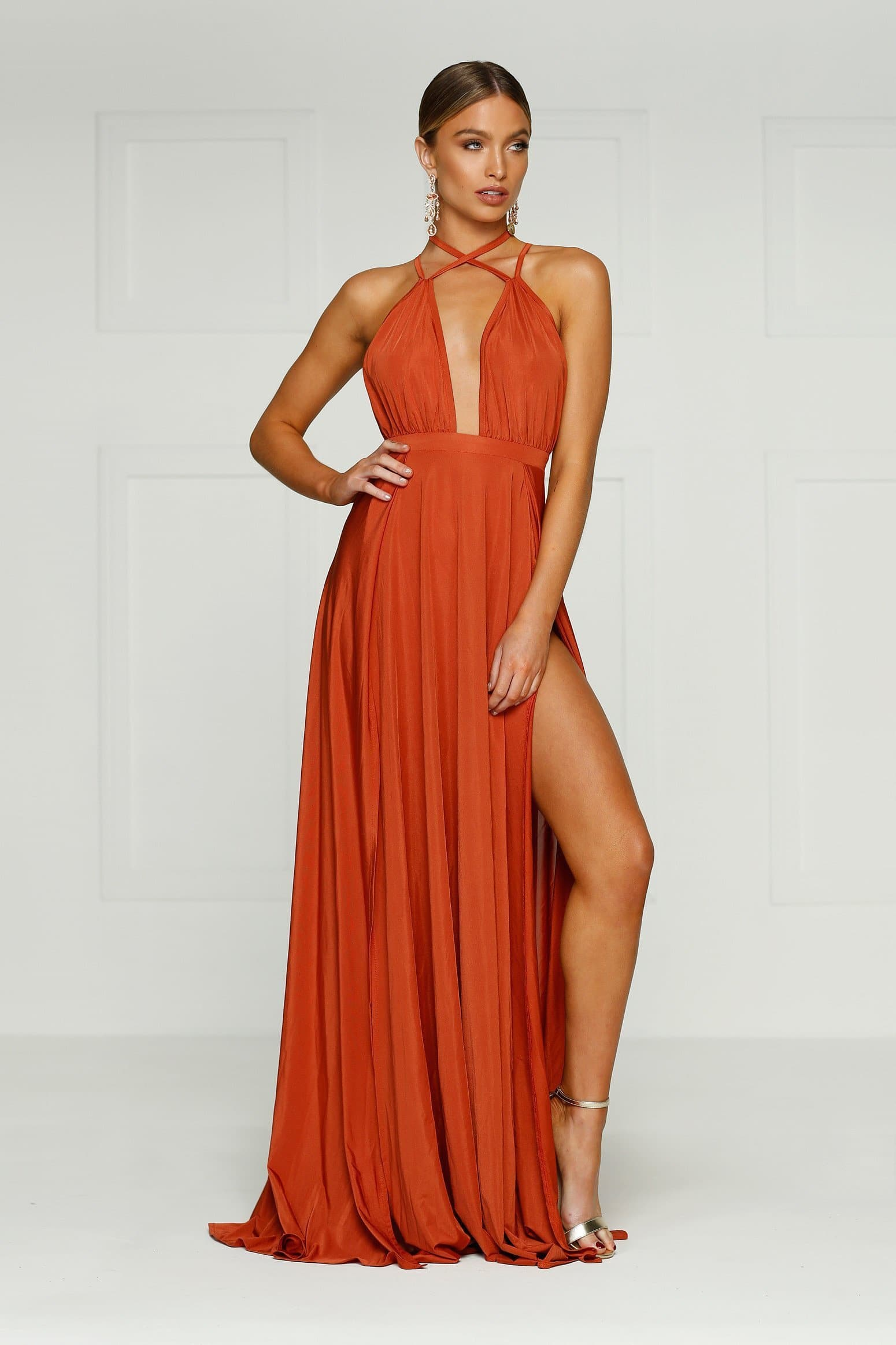 Stella - Golden Rust Jersey Gown with Deep Plunge Neckline & Side Slit