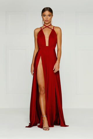 Stella - Wine Red Jersey Gown with Plunge Neckline & Side Slit