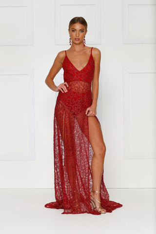 Rozay - Red Sheer Glitter Gown with V-Neckline & Low Back