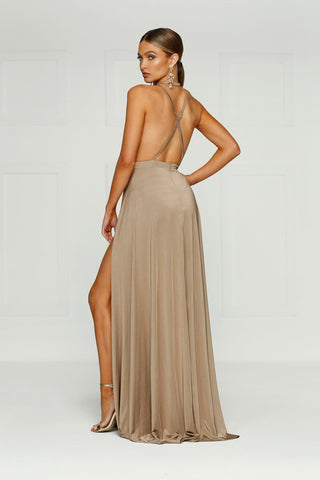 Stella - Bronze Jersey Gown with Plunge Neckline & Lace Up Back