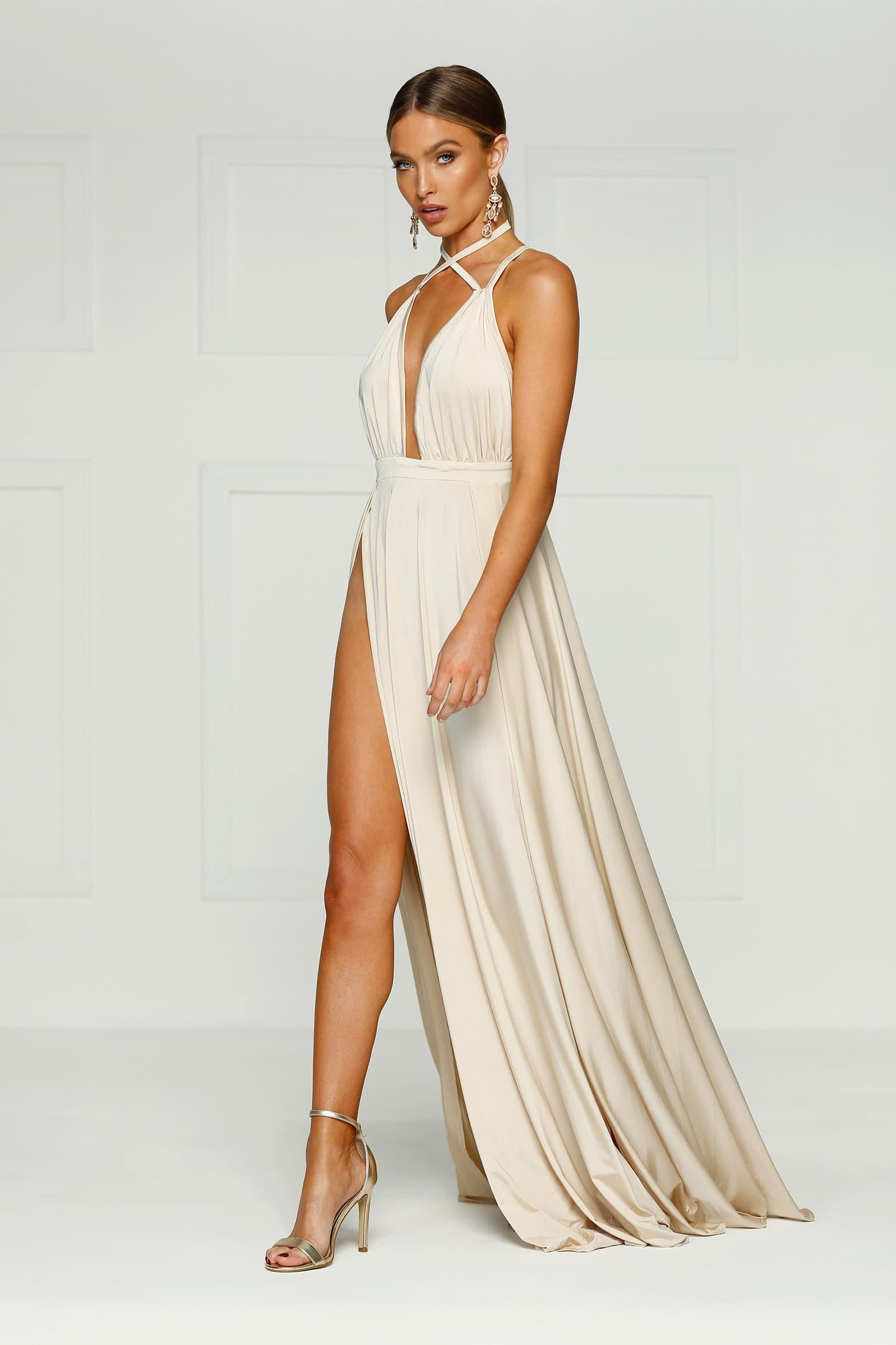 Stella - Oyster Jersey Gown with Criss Cross Detail & Plunge Neckline