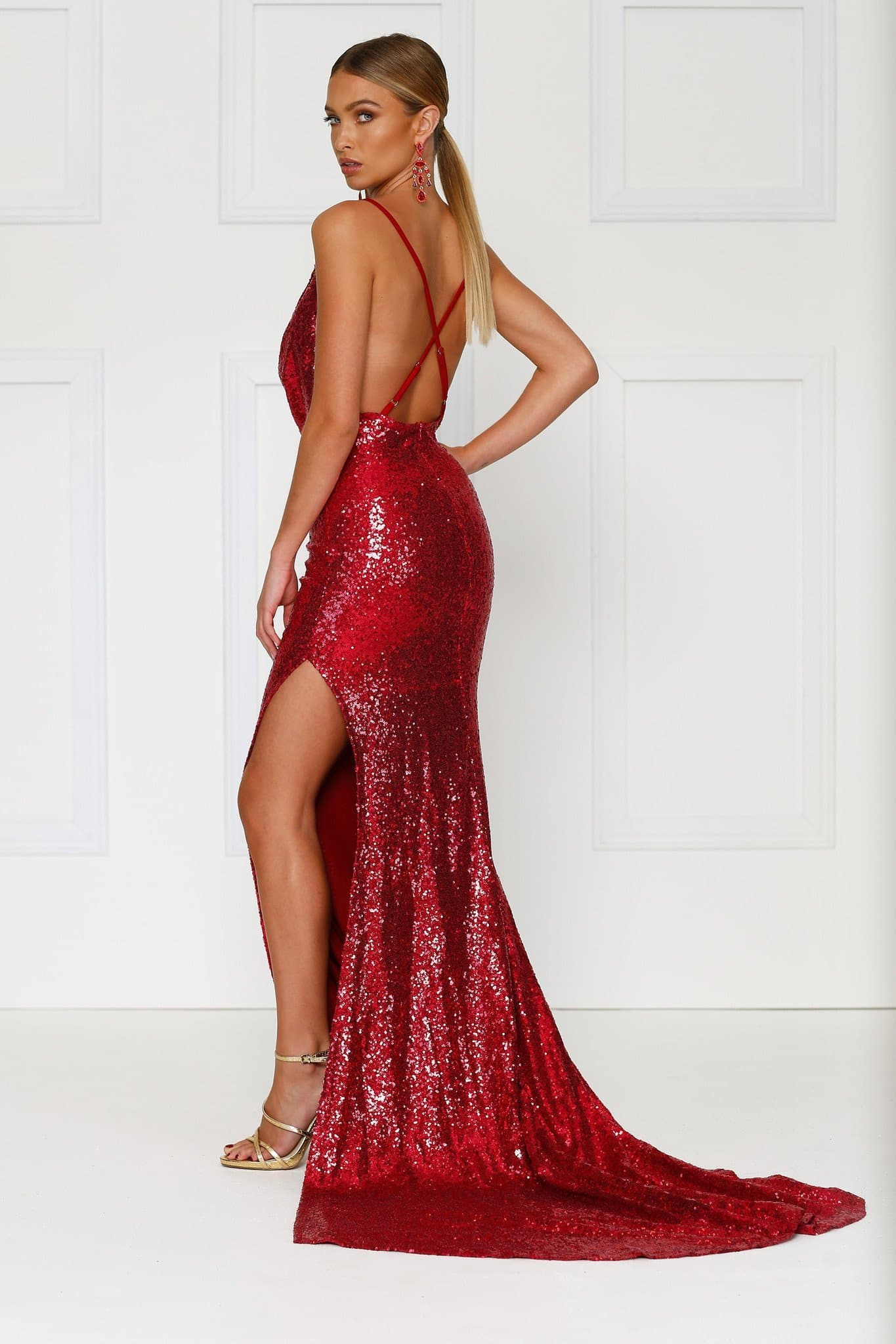 Andriana - Wine Red Sequin Gown with Cowl Neck, Low Back & Side Slit