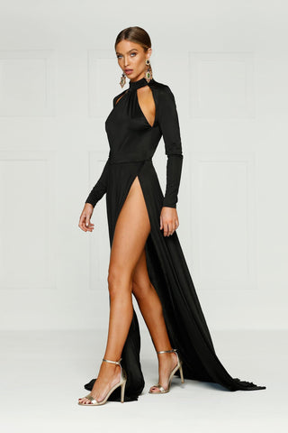Liliya - Black Jersey Halter Neck Gown with Slits and Long Sleeves
