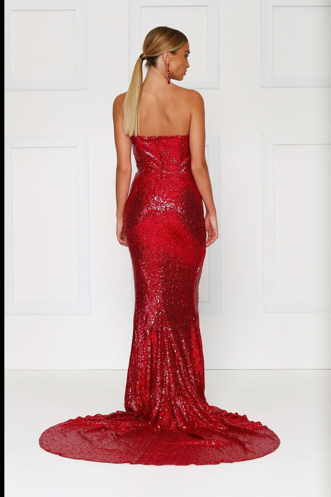 Camilya Formal Gown - Wine Red Sequins Strapless Ruched Mermaid Dress