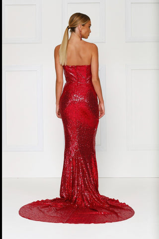 Camilya - Wine Red Sequin Gown with Strapless Neckline & Ruched Detail