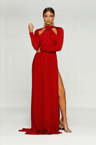 Liliya - Wine Red Jersey Gown with Halter Neckline & Long Sleeves