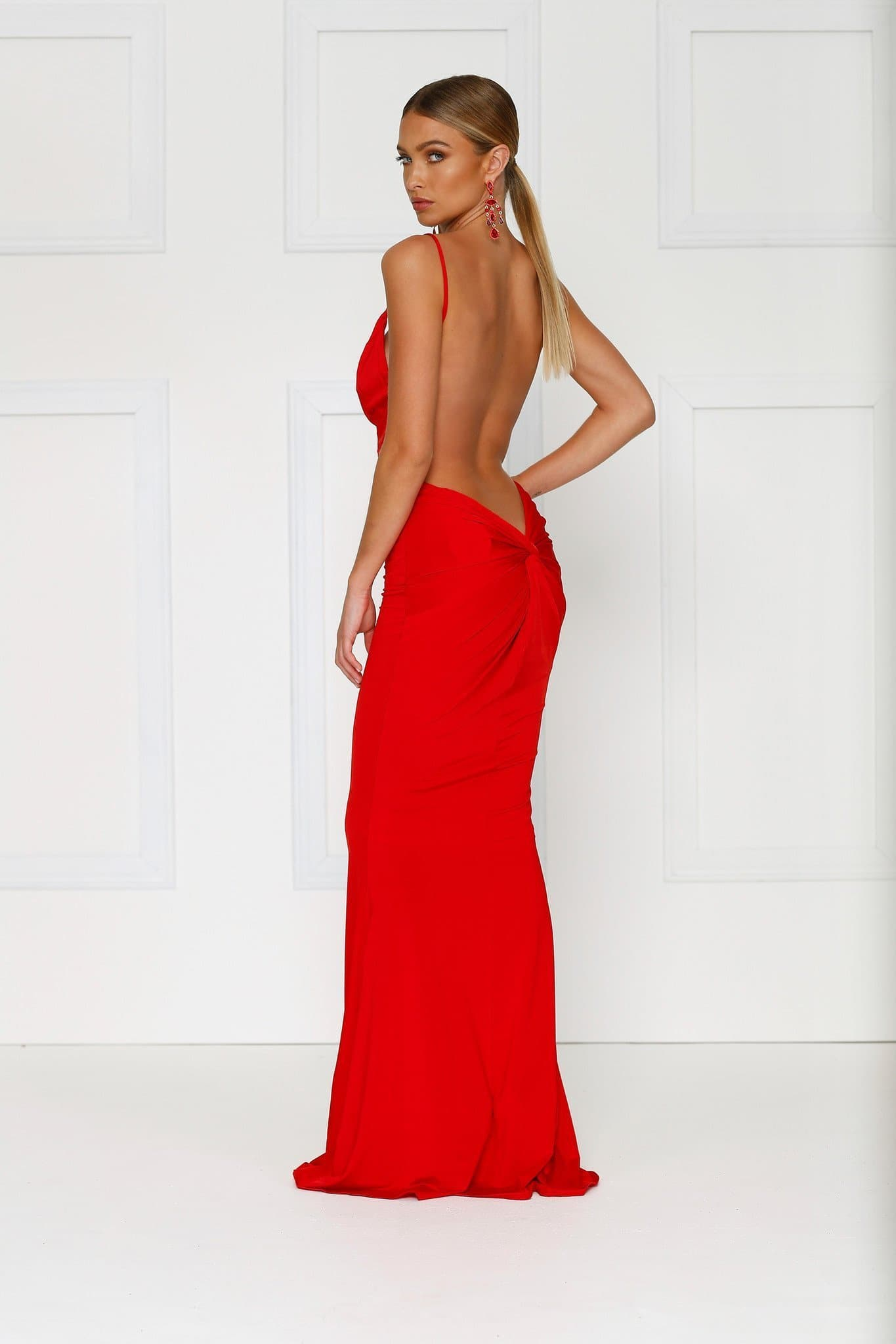 Penelope - Bright Red Jersey Gown with Low Back & Plunge Neckline