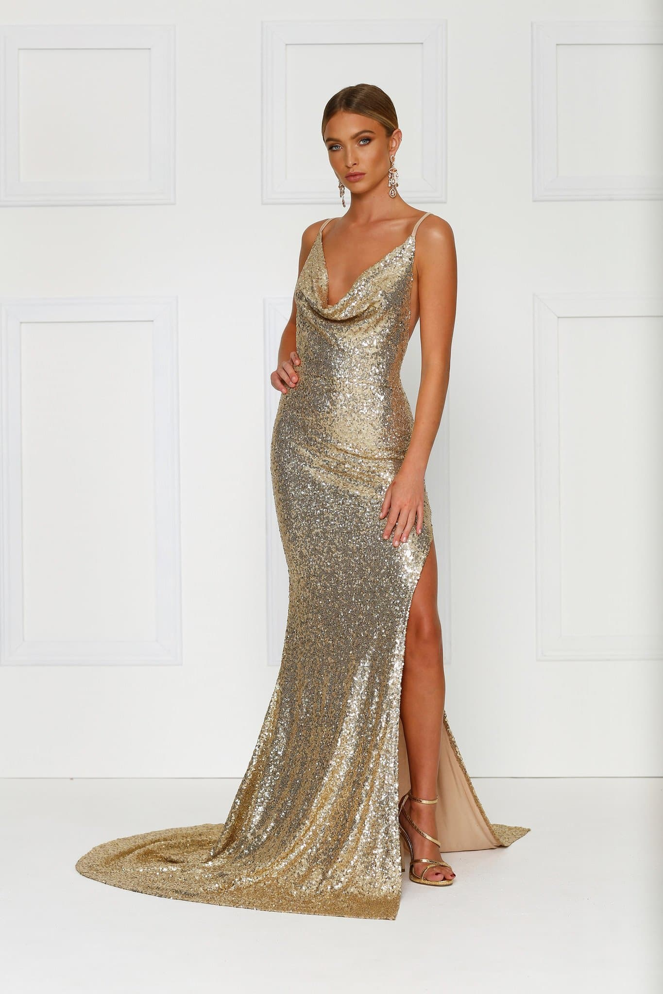 Andriana Formal Gown - Gold Sequins Cowl Neck Low Back Split Dress