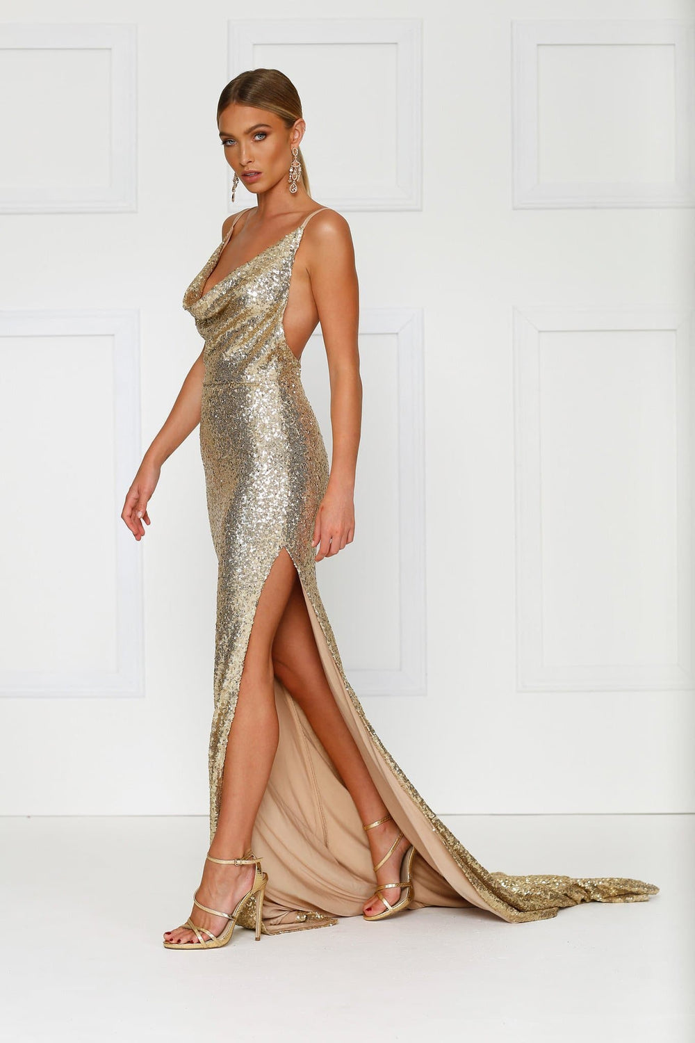 ff2df884c0 Andriana - Gold Sequin Gown with Cowl Neck