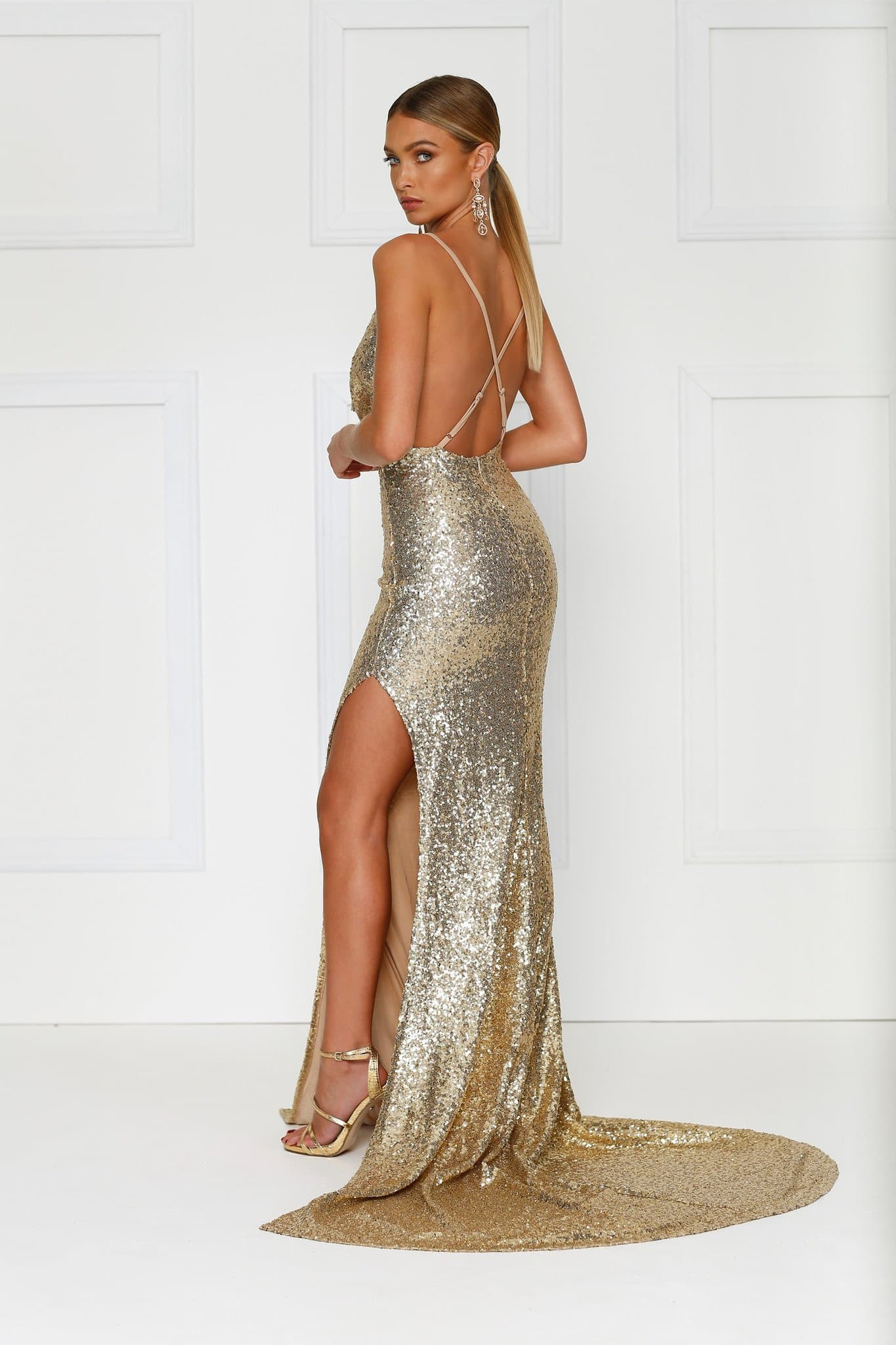 Andriana - Gold Sequin Gown with Cowl Neck, Low Back & Side Slit